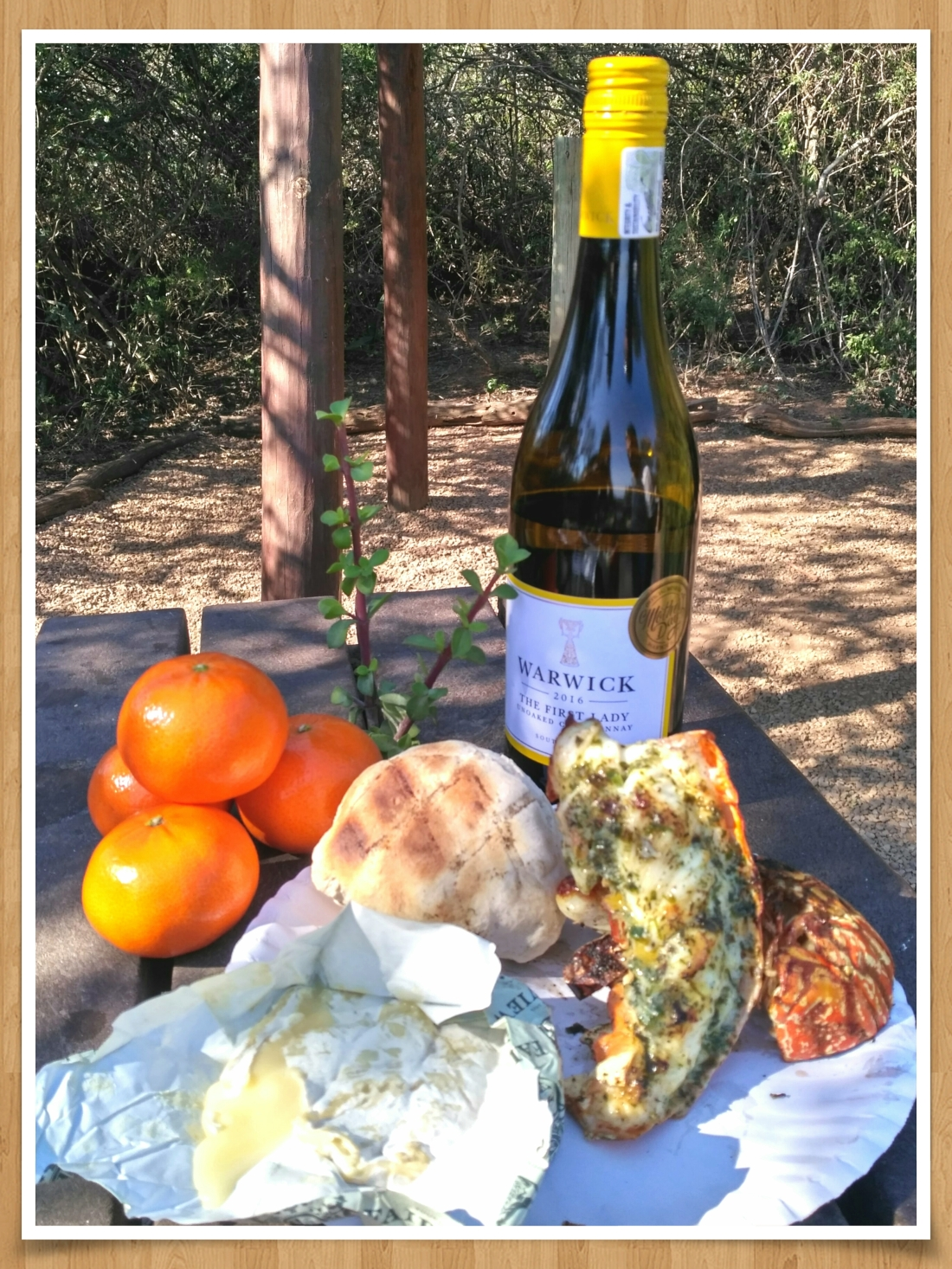 Lobster, Roosterkoek and Camembert on the braai with white wine