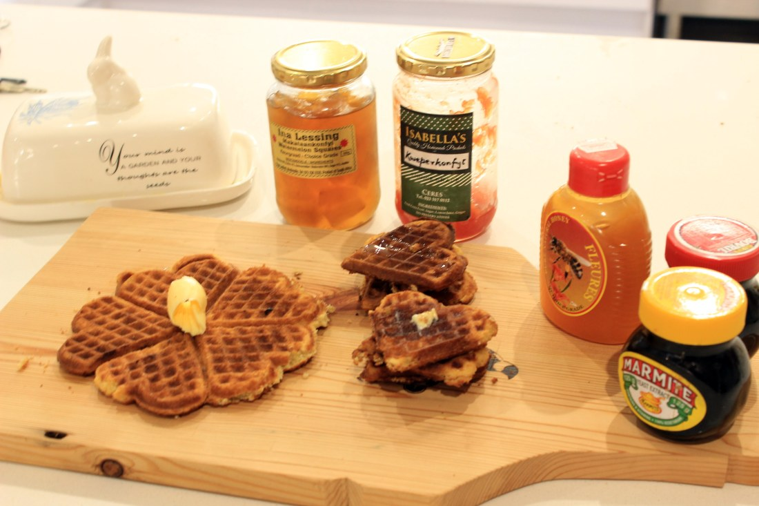 Banana bread waffle with spreads & condiments